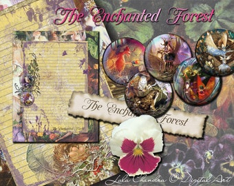 The Enchanted Forest  INSTANT DOWNLOAD fairy printable  journal  Scrapbooking kit