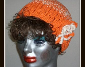 ORANGE BLOSSOM  CLOCHE   Hat  Knit  Beanie  Girls  Teens
