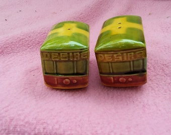 Vintage Porcelain New Orleans Streetcar Named Desire Salt & Pepper Shakers, Souvenir Shakers