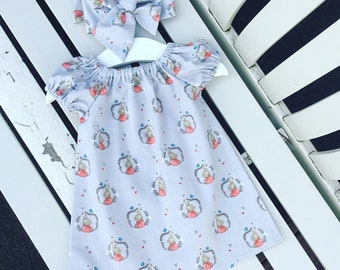 Peter Rabbit Flopsy Bunny Cottontail BABY Toddler GIRL'S DRESS grey red cotton 0-3 months 3-6 months 6-12 months 12-18 months 18-24 months