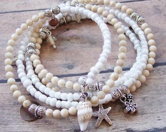 Starfish Wrap Bracelet, Stone Bracelet, Beaded Wrap Bracelet, Starfish Charm Bracelet, Memory Wire Bracelet, Riverstone Gemstone Bracelet
