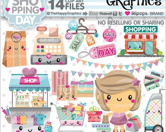 Shopping Clipart, 80%OFF, Shopping Graphics, COMMERCIAL USE, Shop Graphics, Planner Accessories, Shopping Girl, Store, Shopping Day