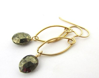 Gold Pyrite Earrings   Geometric Gold Earrings   14K Gold Filled   Oval Charcoal Gemstones   Gold Gray Earrings   Grey & Gold by Eriadesigns