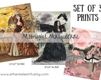 Set of 3 Moonlight Masquerade Fairies, Owl, Raven, Flamingo Full Moon Fairy Angel