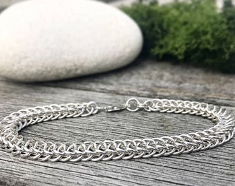 Chainmail Bracelet, Sterling Silver Bracelet, Chainmail Jewelry, Gift For Her, Half Persian Bracelet, Silver Jewelry, Chainmaille Bracelet