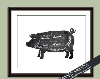 PORK (Butcher Diagram Series) - Art Print (Featured in Vintage Chalkboard and White) Customizable Kitchen Prints
