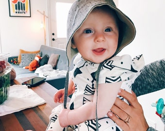 Hand sewn linen baby sun bonnet with visor