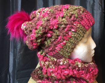 Women's Slouch Hat And Neck Warmer
