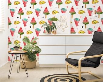 Watermelon Wallpaper, Watercolor Wallpaper, Self Adhesive, Reusable, Removable Wallpaper, Fruit Wallpaper, Floral Wallpaper, Watermelon-A270