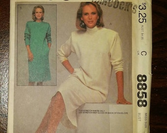 McCall's Dress Sewing Pattern 8858, Uncut, Misses' Size 18, Bust 40 - Buttoned Left Shoulder Opening - For Stretch Knits Only