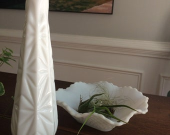 Vintage Milk Glass Vase and Ruffle Bowl