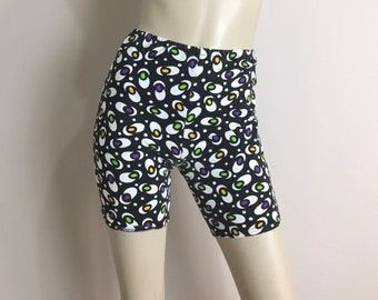 80s 90s Bike Shorts in Black & White- Vintage Atomic Eyeball New Wave Funky Fresh Club Work Out Fitness Spandex Knit Small