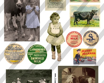 Digital Collage Sheet  Vintage Images Cows (Sheet no. O80) Ephemera-Instant Download