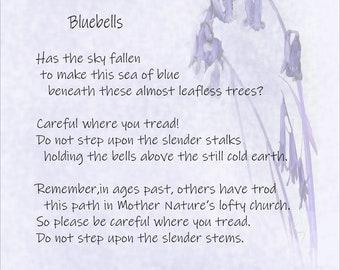 Bluebells - Art Print - Mixed Media - Words - Painting - English Bluebells