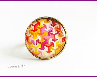 "Ring cabochon 20 mm ""Intertwined patterns colored"" warm tones"