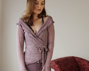 linen wrap cardigan with metallic sparkle in sheer jersey - MICA lounge wear range - made to order