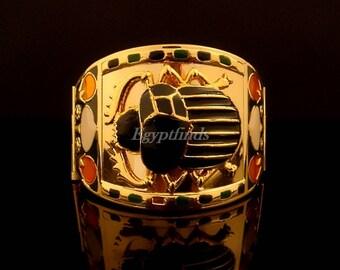 Breath Taking Egyptian Scarab Tutankhamun Cuff Bracelet