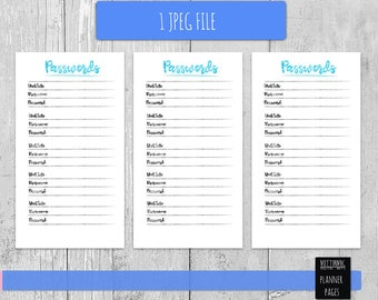 Passwords printable planner pages
