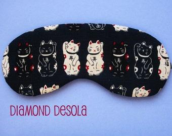 Eye Sleep Mask Cute Lucky Cat Maneki-neko Cotton Print. Comfortable Blackout Travel Relax UK Made Gift. Best Seller Kitten mindfulness idea