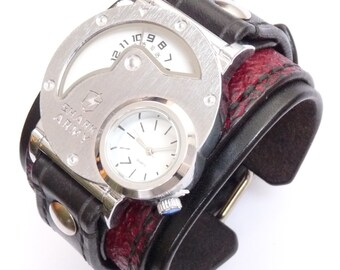 Mens Steampunk Dual Time Watch & Black Watch, Handmade Strap, Steampunk Watch