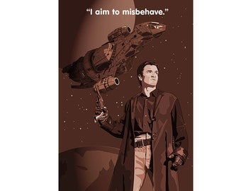 "Firefly Poster - ""I aim to misbehave"", Sci fi poster, TV show poster, Cult TV poster"