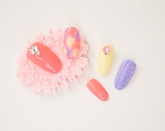 Spring Gradient Floral Knit Nails, kawaii, lolita nails, press on nails, acrylic nail, Harajuku nail
