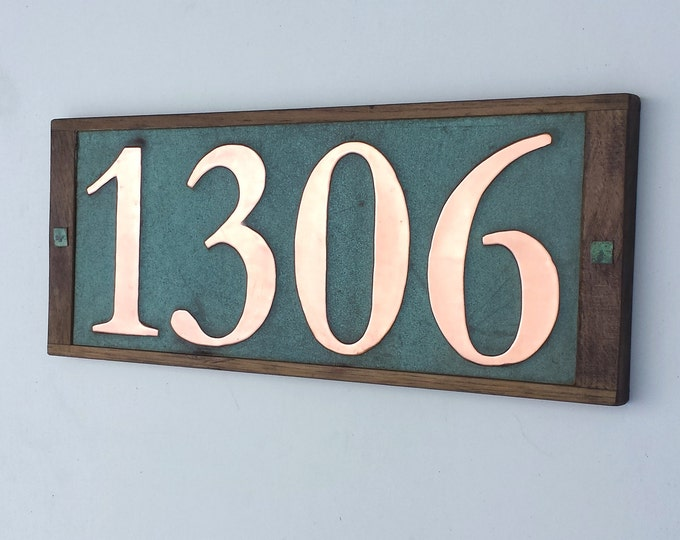 "Large Real Copper House numbers 6""/150mm high in oak frame 4 x nos, shipped worldwide"