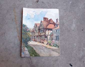 Vintage Art Lithograph Print Chiddingstone Kent 16th Century House A Marc England Countryside Home Decor Watercolor Architecture