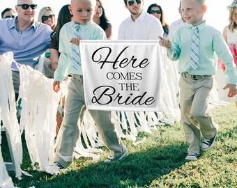 Here Comes the Bride Sign Here Comes the Bride Banner Ring Bearer Sign Ring Bearer Ideas Flower Girl sign Ring Bearer