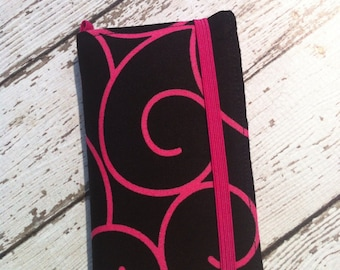 PInk and black swirl iPhone wallet case with removable gel case