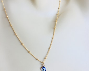 "Satellite Chain Gold Filled Necklace with ""Evil Eye"" Charm"