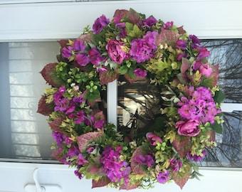 Sale!! Orchid hydrangea, ranunculus & Sweet Pea with Lush Greens Wreath