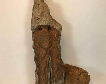 SALE -- Woodspirit carving,  gnome, elf, bark carving, cotton wood sculpture, spirit of the woods, cottonwood bark carving