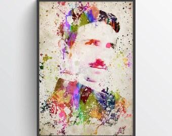 Nikola Tesla Poster, Nikola Tesla Print,Nikola Tesla Art,Nikola Tesla Decor,Home Decor, Gift Idea