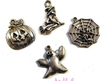 """Set of 4 charms special """"HALLOWEEN"""" embellishment scrap *."""
