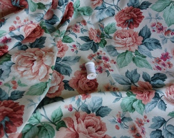 vintage rose upholstery fabric 3 yds x56 inches