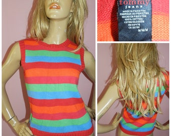 Vintage 90s TOMMY  Multicoloured striped TANK TOP S/M 1990s Top