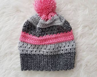 Sale - Adult Slouchy Pom Pom Toque - Light gray, Dark Gray, Pink | CLEARANCE