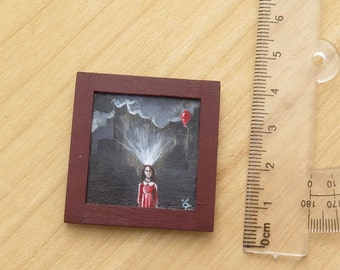 Miniature Painting, Original Acrylic Tiny Painting, Dollhouse Miniature Painting, Collectible Art