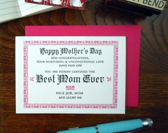 letterpress happy mother's day best mom ever certificate greeting card dark pink & black ink