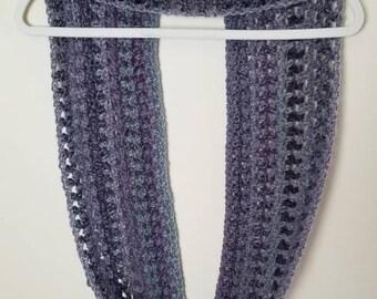 Crochet Scarf -Knit Cowl- Scarf Women Crochet- Spring Accessories - Purple Scarf - Grey Scarf - Knit Scarf - Ready to Ship - Infinity Scarf