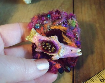 Nature inspired brooch/Fish pin/ ooak brooch