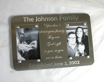 Engraved Double Picture Frame - Two Photos, Custom Family Quote Metal Gift, Motto, Last Name, Established Date, Mothers Day Gift, 5x7 Photos