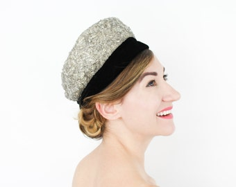 60s Silver Beaded Pillbox Hat   Velvet and Silver Hat   Sally Victor New York