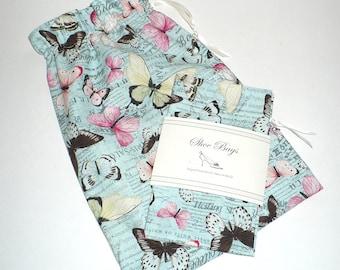 Travel Shoe Bags, Butterfly, Blue, Wedding shoe bag, Lingerie, Drawstring bag, Reusable bag, Cotton drawstring bags, Last One