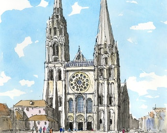 CHARTRES CATHEDRAL France art print from an original watercolor painting