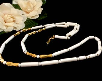 Mid Century Mod, Monet, White and Gold Tube Bead Necklace, Opera Length