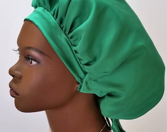 100% Silk Charmeuse G-Wrap Hair Bonnet with Plain Front Band