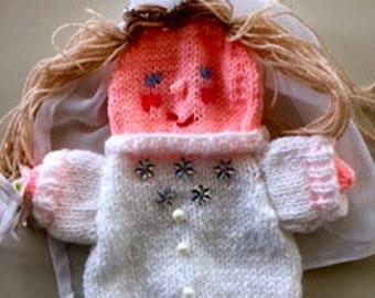bride puppet, knitted bride, handpuppet bride, wedding puppet, bridal puppet,