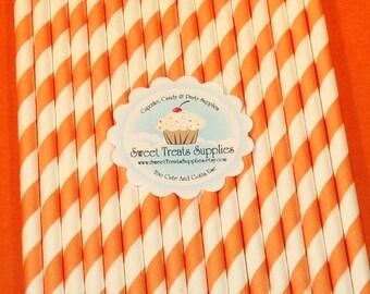 NEW - Bright Orange Striped Straws  (Qty 25)  DIY Flag Toppers - Straws, Bright Orange Straws, Striped Straws, Paper Straws, Milkshake Straw